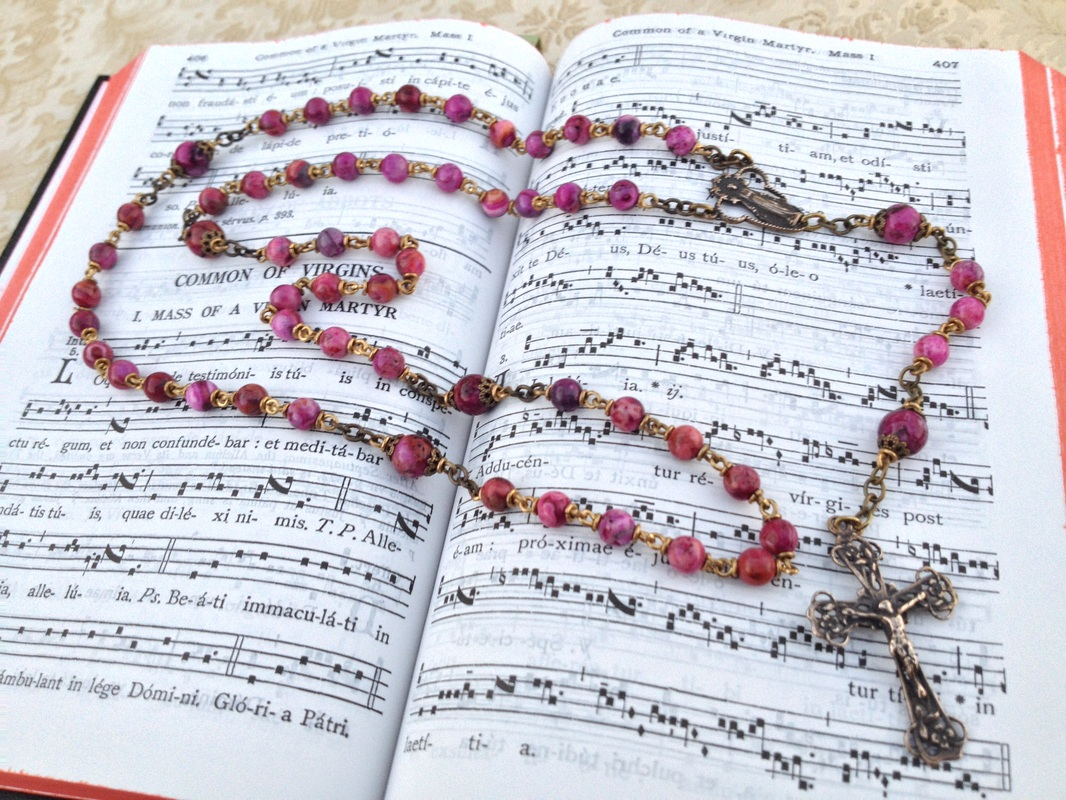 Pink Crazy Lace Agate Small Heirloom Rosary
